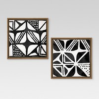 "Mud Cloth IV & III Framed Canvases 12""x12"" 2pk - Threshold™"