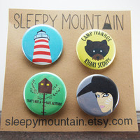 Moonrise Kingdom Badges - Set of 4 Wes Anderson Buttons or Magnets