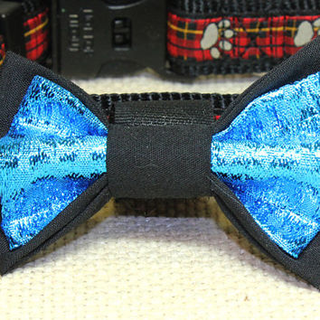 Medium Size Black and Metallic Blue Dog Bow Tie. Black Cotton and Sapphire Blue Lame Fabric Pet Accessories. Attaches Using Velcro to Collar