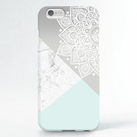 iPhone 6 Case, iPhone 6 Plus Case, iPhone 5S Case, iPhone 5 Case, iPhone 5C Case, iPhone 4S Case, iPhone 4 Case - Mandala marble block mint