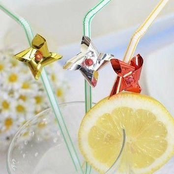 8 Assorted Colors Foil Pinwheel Straws Windmill Flexible Drinking Straw