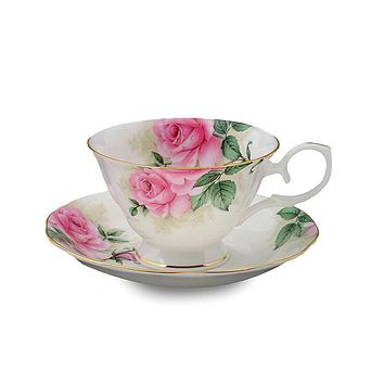 Rose Bouquet Bone China Tea Cups and Saucers  Set of 4