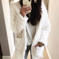 Fireside Shearling Coat in White