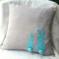 Two Cute Rabbits Pom Pom Tail Light Grey Teal Decorative Pillow Cover