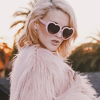 Cute Womens Lolita Sweet Heart Shape Sunglasses