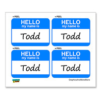 Todd Hello My Name Is - Sheet of 4 Stickers