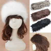 New Women Russian Winter Plush Faux Fur Headband Hat Ear Warmer Ear Muff Ski Cap SV006044 Apparel & Accessories = 1932916036