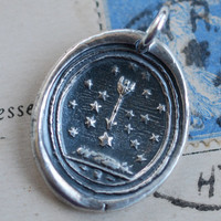 star pendant - stars and arrow wax seal necklace … protection, truth, hope, spirit - fine silver antique wax seal jewelry