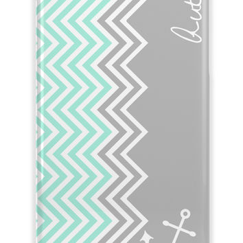 ANCHOR AND CHEVRON - NAUTICAL IPHONE CASE WITH PERSONALIZATION