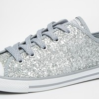 Converse Chuck Taylor All Star Dainty Silver Glitter Trainers