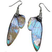 Fairy Wing Earrings - Pixie Wings - Iridescent Wings - Fantasy Jewelry - Gift for Her - Sterling Silver Earrings - Mother of Pearl