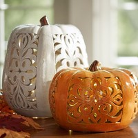 FILIGREE PUNCHED CERAMIC PUMPKINS
