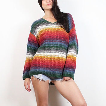Vintage 90s Sweater Chunky Knit Rainbow Gradient Ombre Striped Pullover Jumper 1990s Soft Grunge Heavy Boyfriend Sweater L Extra Large XL
