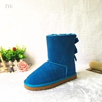 """UGG"" Women Fashion Wool Snow Boots Calfskin Shoes Black"