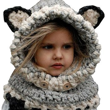 Girl's Winter Animal Hats And Scarves Set Warm Hooded Scarf Best Gifts