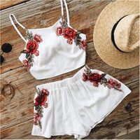 White Cami Top and Elastic Waist Shorts with Floral Embroidery