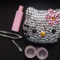 Hello Kitty bling Contact lenses lense case with indivudual rhinestones, eye accesories and faux pearl, small mirror inside compact