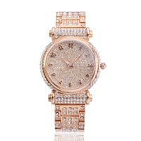 Women's Luxury Full Pave White CZ Round Dial with Arabic Numerals Quartz Watch