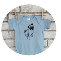 Screen Printed Baby Onepiece Hand Printed with a Pug, Light Blue Cotton One Piece Bodysuit, Infant shirt, Family Pet, Dog Lover Shower Gift
