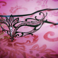 Luxury Handcrafted Metal Laser Cut Venetian Masquerade Feather Ball Mask w/ Crystal Clear Rhinestones