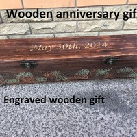 Engraved wooden gift, personalized wooden gift, wooden anniversary,5th anniversary gift,wooden casket,5 year anniversary,wooden gift for her