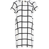 Black and white large check t-shirt dress