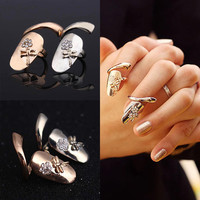 Gold Silver Finger nails Ring With Crystal Dragonfly Fine Jewelry Punk Women Rings Style