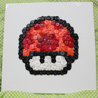 8-bit Button Art - Super Mario Mushrooms