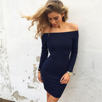 2016 Sexy Slim Package Hip Boat Neckline Off Shoulder Casual Party Playsuit Bodycon Boho Slim Waist One Piece Dress ??_ 8429
