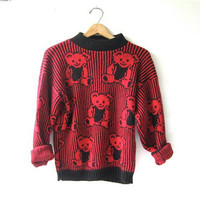 80s sweater with teddy bears. novelty sweater.