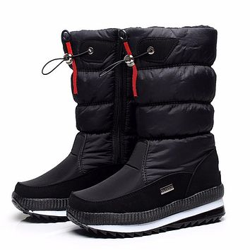 High Quality Women's Boots 2017 New Non-slip Waterproof platform Snow boots Mid-calf White Women Winter Shoes