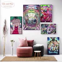 Rick And Morty Cartoon Canvas Art Print Painting Posters Wall Pictures For Living Room Home Decoration Wall Decor No Frame