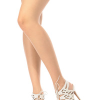 White Faux Leather Lace Up Laser Cut Heels