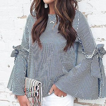 Flare Sleeve Ruffles Vintage Blouse Women Oversize Plus Size Blouse Shirts Casual Stripe Bow Oversize Blusa Mujer