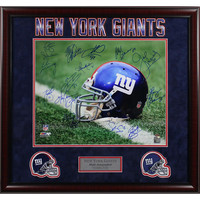NY Giants Greats Multi Signed Helmet 16x20 Photo (16 Sig) Elite Framed