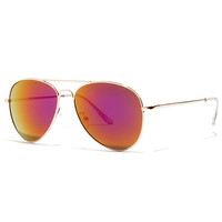 Fly By Night Gold and Purple Mirrored Aviator Sunglasses
