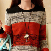 Long Sleeve Striped Wool Knit Sweater