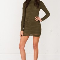Ruched Long Sleeve Dress in Olive