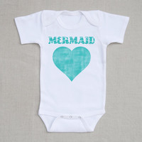 Mermaid Baby Short Sleeve Onesuit, Little Mermaid At Heart One Piece Romper Bodysuit, Baby and Toddler Clothing, Baby Gift or First Birthday