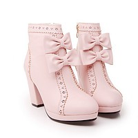 Cute bow heels waterproof boots
