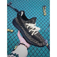 Adidas Yeezy Boost 350 v2 Black Static Reflective Sport Running Shoes