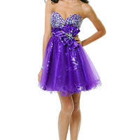Purple Leopard Spot Beaded Sweetheart Prom Dress - Unique Vintage - Prom dresses, retro dresses, retro swimsuits.