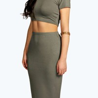 Marin High Neck Capped Sleeve Midi Co Ord Set