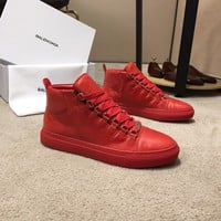 Balenciaga Men's Leather Fashion High Top Sneakers Shoes