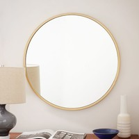 Metal Framed Round Wall Mirror - Antique Brass