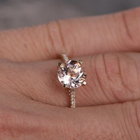 8mm Round Morganite Engagement ring Yellow gold,Diamond wedding band,Gemstone Promise Ring,Bridal Ring,Simple Classic,Custom made setting