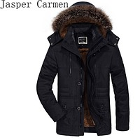 AFSJEEP men's Cotton Mens winter with cashmere size in the long section of thick coat jacket L-6XL free shipping Z145