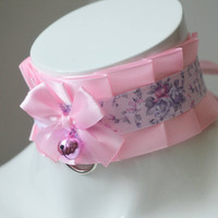 Kitten play collar - Eternal pink  - ddlg little princess bdsm proof choker with leash ring - kawaii cute fairy kei collar - nekollars