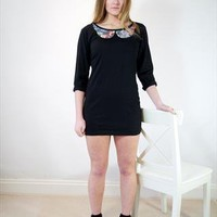 Black tapestry Peter Pan collar dress from Miss Lawes Adores