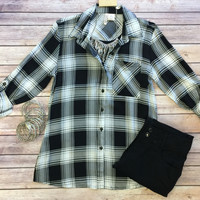 Take Me Home Plaid Top: Black